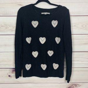 Lc Lauren Conrad black white lace heart sweater